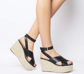 0643a3cb42ae Office Medal Ankle Strap Espadrille Wedges Black