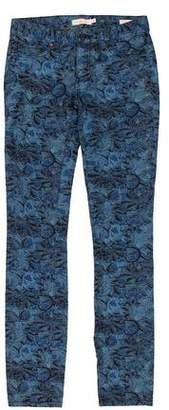Tory Burch Printed Mid-Rise Jeans w/ Tags