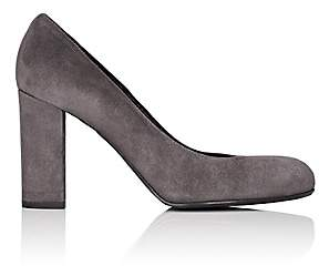 Barneys New York Women's Chunky-Heel Suede Pumps - Dark Gray