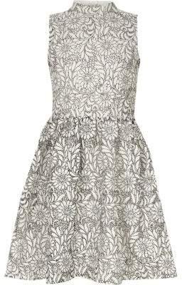 River Island Girls white mono high neck lace prom dress