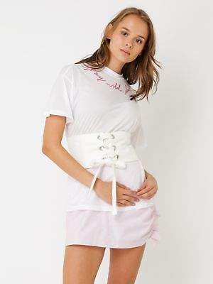 Glamorous New Womens Tie Up Corset Belt In White Belts BestSellers