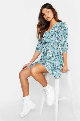boohoo Floral Print Ruffle Detail Tea Dress