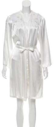 Oscar de la Renta Long Sleeve Mesh-Accented Nightgown White Long Sleeve Mesh-Accented Nightgown