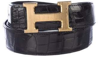Hermes Shiny Porosus Crocodile 32MM Stiree Belt Kit