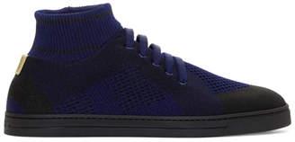 Fendi Blue Knit High-Top Sneakers