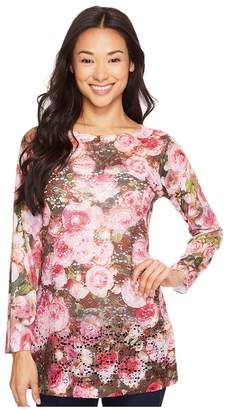 Nally & Millie Printed Lace Floral Tunic Women's Clothing