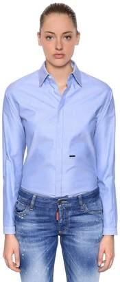 DSQUARED2 Cotton Oxford Shirt W/ Logo Detail