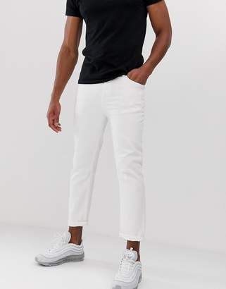 Religion cropped tapered fit jean in white rigid denim