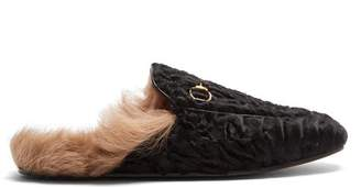 Gucci - Princetown Shearling Lined Fur Loafers - Womens - Black