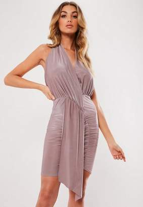1a5fb561cb Missguided Mauve Slinky Cowl Drape Mini Dress