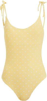Onia Ginny Polka Dot Tie Shoulder One Piece Swimsuit