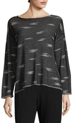 Eileen Fisher Printed Boat Neck Top