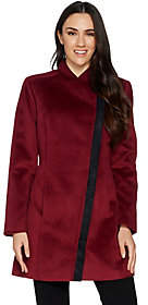 Halston H by Long Sleeve Coat with Faux SuedeDetail