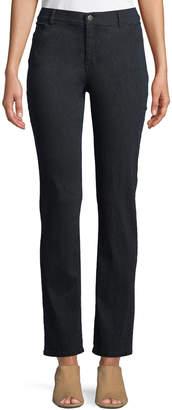 Lafayette 148 New York Curvy Snakeskin-Jacquard Slim-Leg Pants