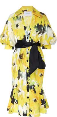 Marchesa Floral Printed Cotton Shirt Dress With Satin Faced Organza Sash