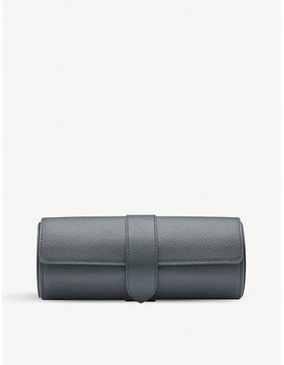 Smythson Panama leather travel watch roll