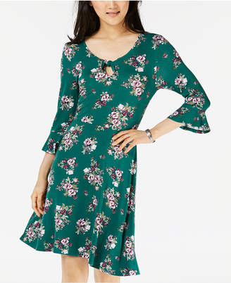 Ultra Flirt Juniors' Keyhole Printed Bell-Sleeve Dress