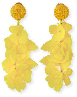 Oscar de la Renta Climbing Flower Clip-On Earrings