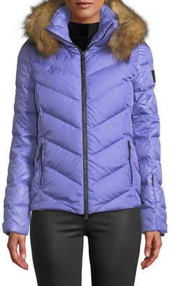 Bogner Sassy Chevron Down Puffer Jacket w/ Faux-Fur Trim