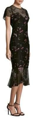 Shoshanna Embroidered Overlay Midi Dress