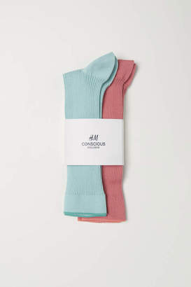 H&M 2-pack socks - Mint green/Coral - Women