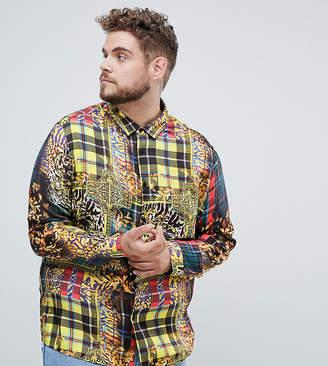 Asos DESIGN Plus regular fit baroque & check mixed print shirt