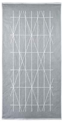 DKNY Silver Cotton 'Geometrix' Jacquard Bath Mat