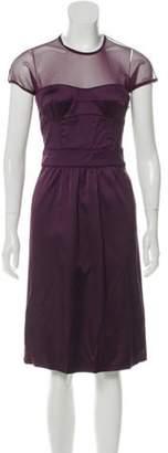 Burberry Mesh-Accented Sleeveless Midi Dress Plum Mesh-Accented Sleeveless Midi Dress