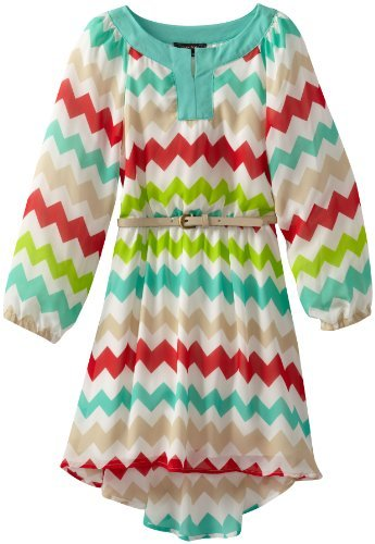 My Michelle Girls 7-16 Long Sleeve Printed Chiffon High-Low Dress with Belt