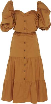 Johanna Ortiz Essence Of Silence Tiered Cotton-Blend Midi Dress