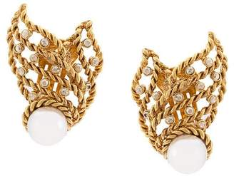 Oscar de la Renta Pearl Net earrings