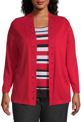 Alfred Dunner Grand Boulevard Stripe Layered Sweater - Plus