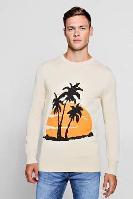 boohoo Palm Intarsia Knitted Jumper