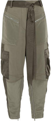 3.1 Phillip Lim - Cropped Silk Satin-paneled Twill Pants - Army green $495 thestylecure.com