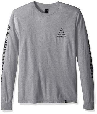 HUF Men's Essentials TT L/S Tee, Grey Heather, XL