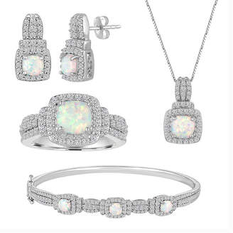 FINE JEWELRY Lab-Created Opal And Cubic Zirconia Pure Silver Over Brass 4Pc Set