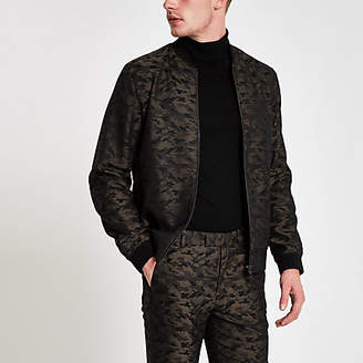 River Island Green camo bomber jacket