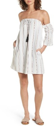 Women's Lush Stripe Off The Shoulder Dress $45 thestylecure.com