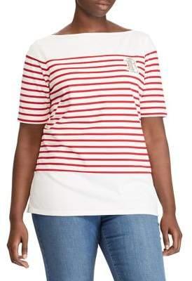Lauren Ralph Lauren Plus Striped Boatneck Cotton Top
