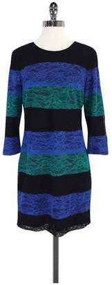 Ali Ro Black, Blue & Teal Striped Lace Dress $78.99 thestylecure.com
