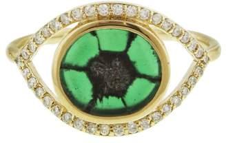Melissa Joy Manning Trapiche Emerald And Diamond Evil Eye Ring