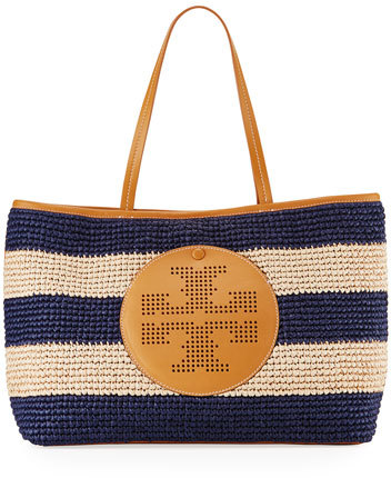 Tory Burch Tory Burch Straw Perforated Logo Tote Bag