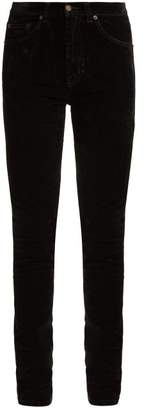 Saint Laurent Mid Rise Stretch Velvet Skinny Jeans - Womens - Black