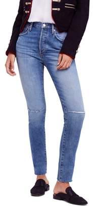 Free People Stella High Waist Raw Hem Skinny Jeans