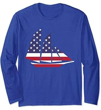 American Flag Sailing Sailboat Nautical Long Sleeve T-Shirt