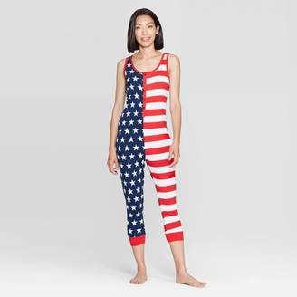 607cb0e12 Snooze Button Women's Stars and Stripes Family Pajama Union Suit - Red