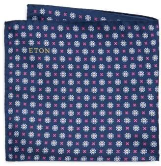 Eton Navy Floral Medallion Pocket Square