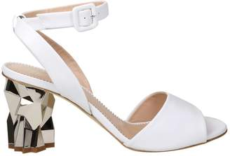 Giuseppe Zanotti Design Leather Sandals In White Color With Sculpture Heel