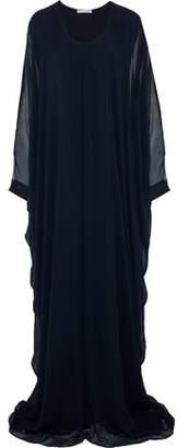 Oscar de la Renta Draped Neon Silk-Georgette Gown