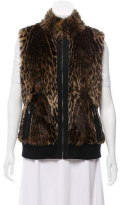 Tahari Faux Fur Animal Print Vest
